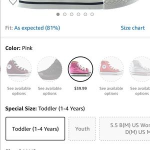 Toddler pink lace up Converse size 3